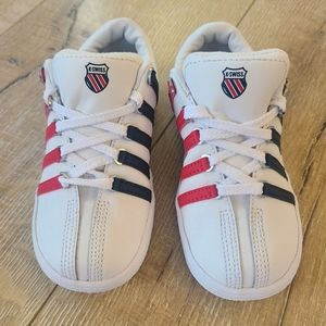 K-Swiss Classic Toddler Sneakers with Red/Blue Stripes